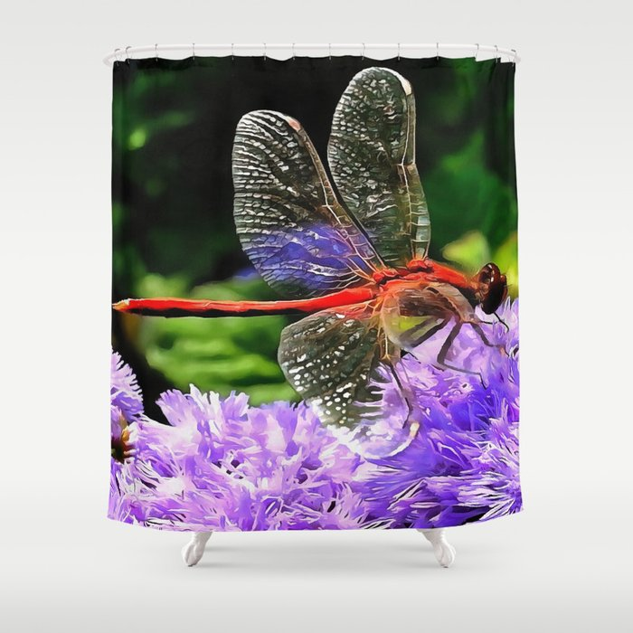 Red Dragonfly on Violet Purple Flowers Shower Curtain