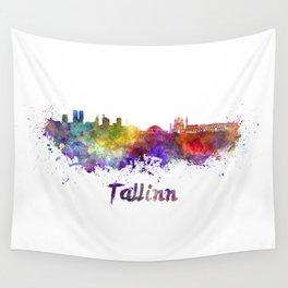 Tallinn skyline in watercolor Wall Tapestry