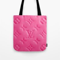 lv Tote Bags featuring Pink LV by I Love Decor