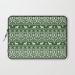 Westie fair isle west highland terrier christmas holiday gifts dog pattern green Laptop Sleeve