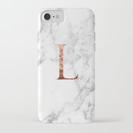 Monogram rose gold marble L iPhone Case
