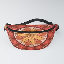warm color hand made manadalaart Fanny Pack