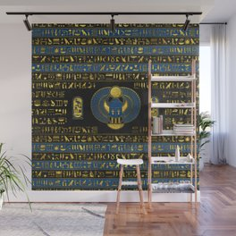 Golden Egyptian Scarab Ornament on  leather Wall Mural