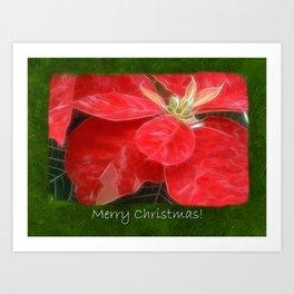Mottled Red Poinsettia 1 Ephemeral Merry Christmas P1F5 Art Print