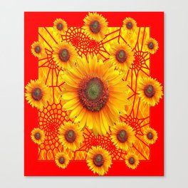 Vibrant Red-Yellow Sunflower Web Patterns Canvas Print