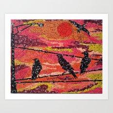 Birds on a Wire - Vintage Scrabble Tile Mosaic Art Print