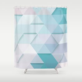 Pale Mint Blue Triangles Shower Curtain