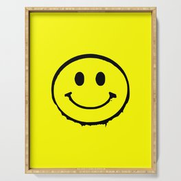 smiley face rave music logo Serving Tray