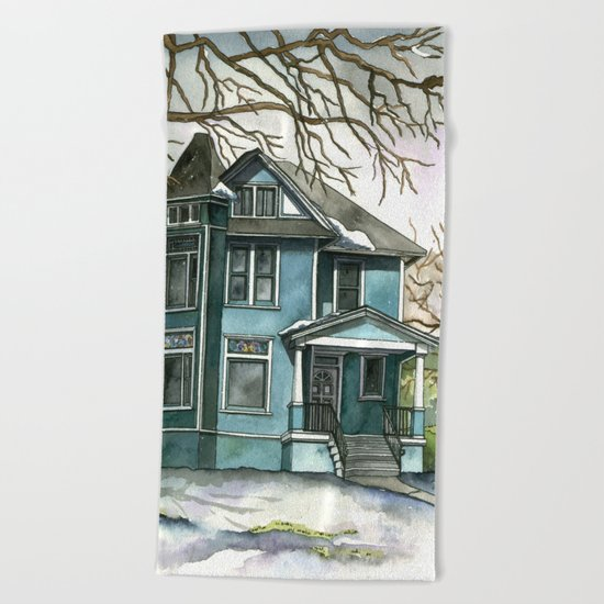 The House Under the Big Tree Beach Towel