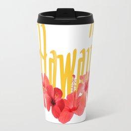 Hawaii Text With Aloha Hibiscus Garland Travel Mug