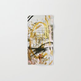 Armor [9]:a bright, interesting abstract piece in gold, pink, black and white Hand & Bath Towel