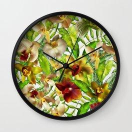 My tropical Orchid Garden- Jungle Pattern Wall Clock