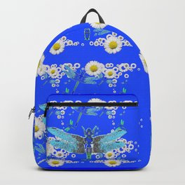BLUE DRAGONFLIES REPEATING  DAISY FLOWERS  ART Backpack