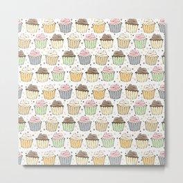 Cupcake Love Pattern -Food Pattern Metal Print