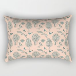 A Girl Reading in the Garden (Blush and Teal) Rectangular Pillow