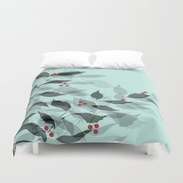 Leaves with Christmas Berries Duvet Cover