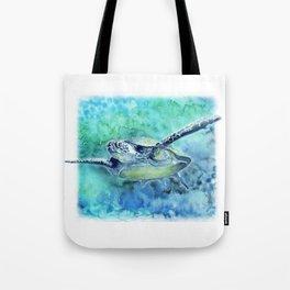 Swimming Turtle In Watercolor Tote Bag