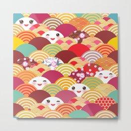 Kawaii Nature background with japanese sakura flower, wave pattern Metal Print