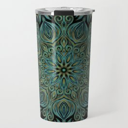 Teal and Gold Mandala Swirl Travel Mug
