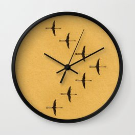 Flying Flamingos Wall Clock