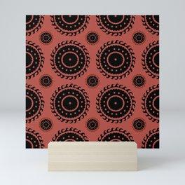 Black and Rust Asian pattern Mini Art Print