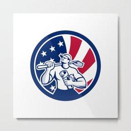 American Drainlayer USA Flag Icon Metal Print