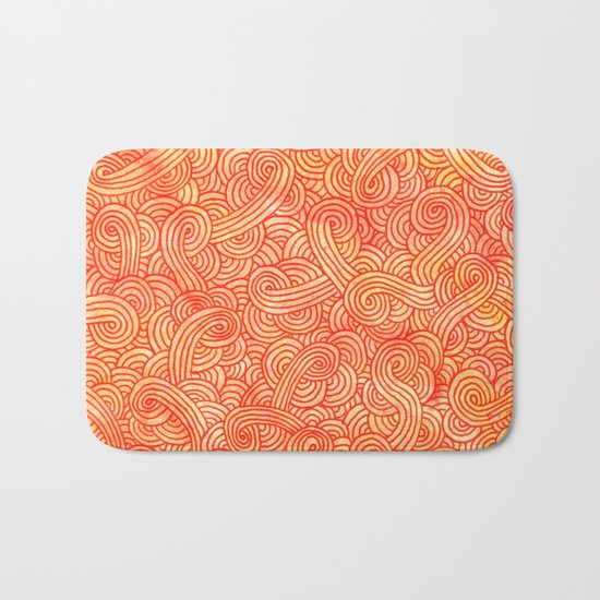 Red and orange swirls doodles Bath Mat