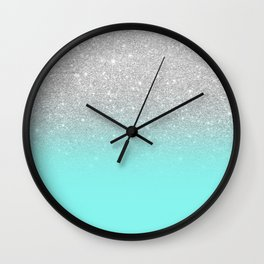 Modern girly faux silver glitter ombre teal ocean color bock Wall Clock