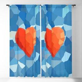 Red Heart on Aqua Blackout Curtain