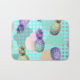 Pineapple Summer Rainbow Rose Gold Bath Mat
