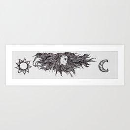 Night and Day Goddess Art Print