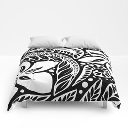 Circular Polynesian White Floral Tattoo Comforters