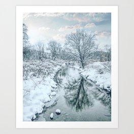Snowy Reflections Art Print
