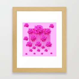 MODERN PINK ART CERISE PINK ROSE GARDEN ABSTRACT Framed Art Print