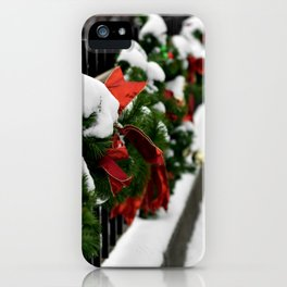 Snowy Evergreen Holiday Decorations iPhone Case