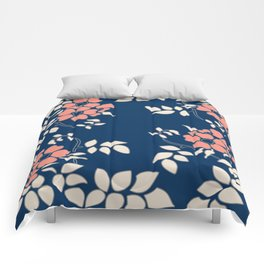 FLORAL IN BLUE AND CORAL Comforters