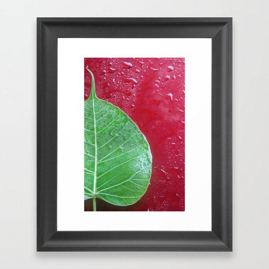 Leaf on red Framed Art Print
