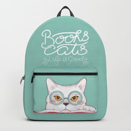 Books, Cats, Life is Good - Edward Gorey Quote Calligraphy Backpack