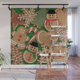 Christmas Holiday Gingerbread Cookies // Gingerbread Boys and Girls, Snowmen, Snowflakes, Xmas Trees and Candy Cane Wall Mural