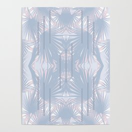 Tropical Art Deco Pattern - Pastel blue and pink Poster