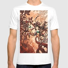 Cute fairy flying in a fantasy forest Mens Fitted Tee MEDIUM White