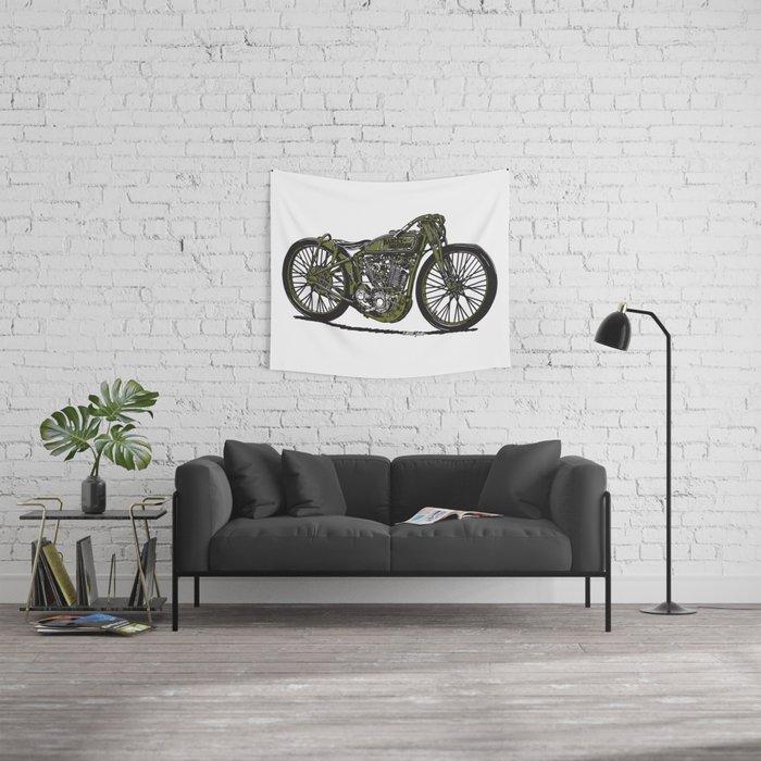 Harley Board Tracker Motorcycle Wall Tapestry