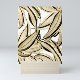 Dracaena Tropical Leaves Pattern Gold Black #1 #tropical #decor #art #society6 Mini Art Print