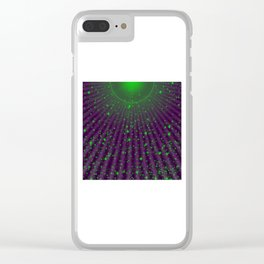 green small stars in purple Clear iPhone Case