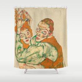 """Egon Schiele """"Lovemaking"""" Shower Curtain"""