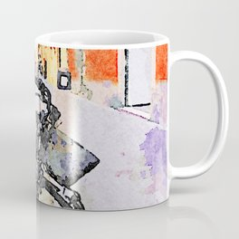 Teramo: parked bicycle and mother with stroll along the course Coffee Mug