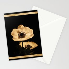 Anemone Flowers, Black with Golden Frame, Floral Nature Photography Stationery Cards