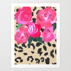 Roses and Leopard Print Art Print