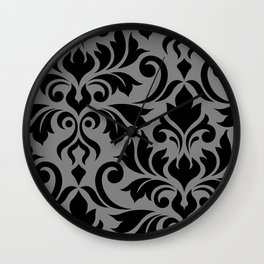 Flourish Damask Art I Black on Gray Wall Clock