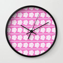 Simple White Roses - Pink BG Wall Clock
